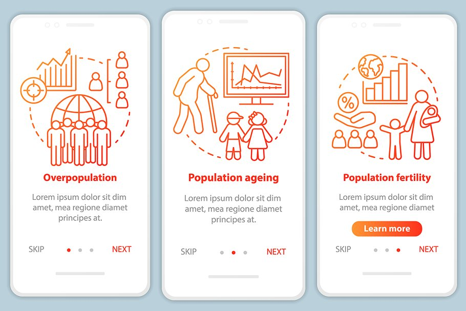 Population mobile app pages