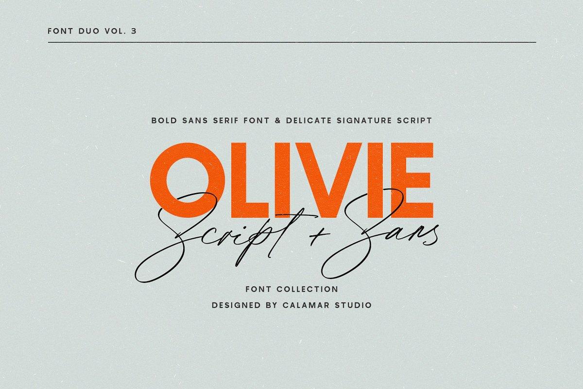 Olivie Font Duo // Script & Sans