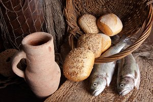 Wine jug with bread and fish....jpg