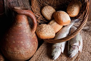 Wine jug with bread and fish.jpg