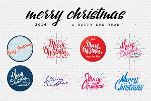 Merry Christmas hand-drawn badge