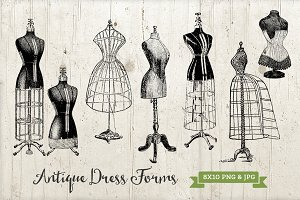 6 Vintage Dress Form Graphics Set