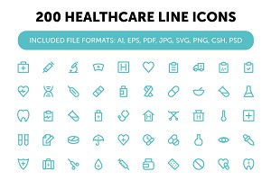 200 Healthcare Line Icons