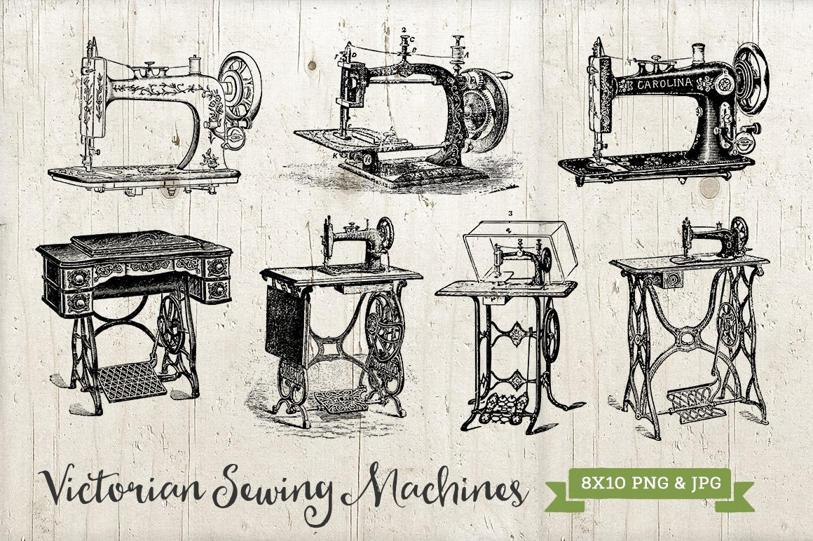 7 Antique Sewing Machines Png Amp Jpg Graphics Creative