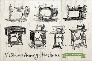 7 Antique Sewing Machines PNG & JPG