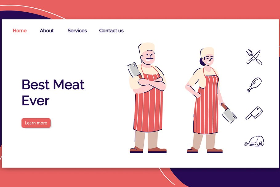 Fresh meat shop landing page
