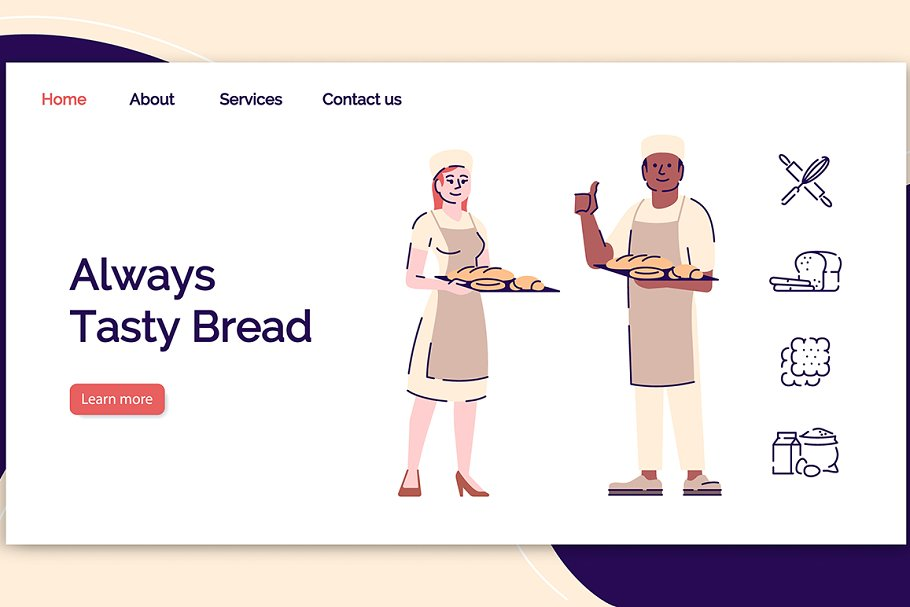 Bakery landing page vector template
