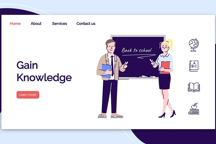 Educational service landing page