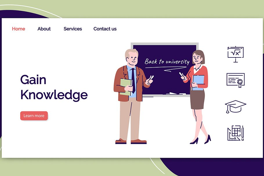 Gain knowledge landing page template