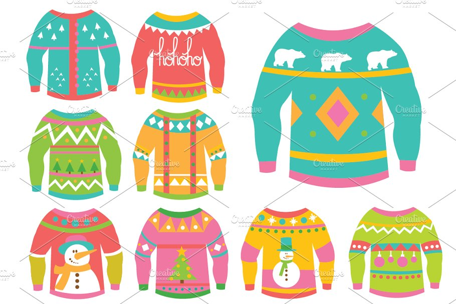 fff8ec31a Christmas Ugly Sweaters Clipart ~ Illustrations ~ Creative Market