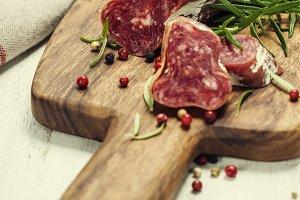 Italian salami and wine