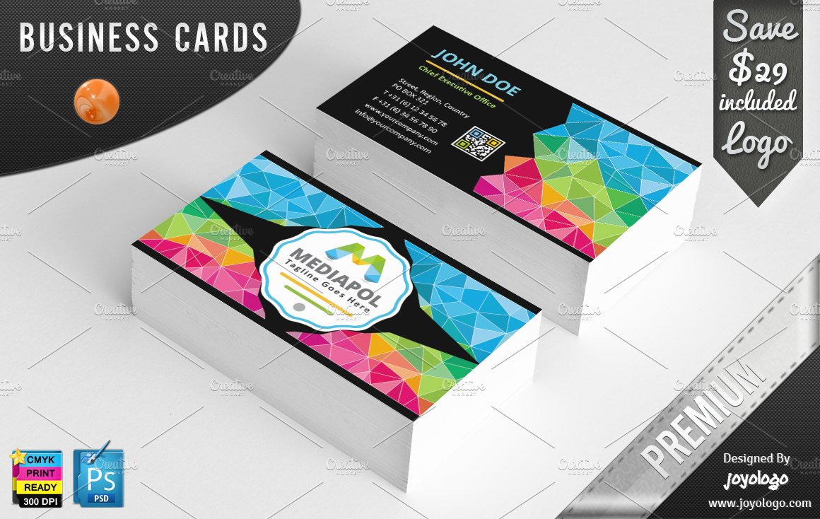 Colorful geometric business cards business card templates colorful geometric business cards business card templates creative market magicingreecefo Gallery