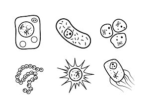 Set of biology cells icons