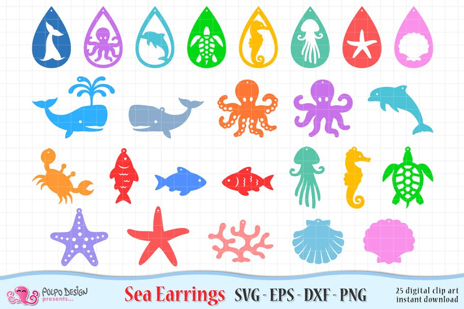 Sea Creatures Svg Eps Dxf And Png Pre Designed Photoshop Graphics Creative Market