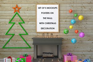 Set posters with christmas decor