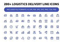 200+ Logistics Delivery Line Icons