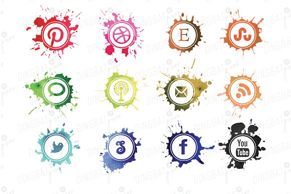 Watercolor Social Media Icons in Icons