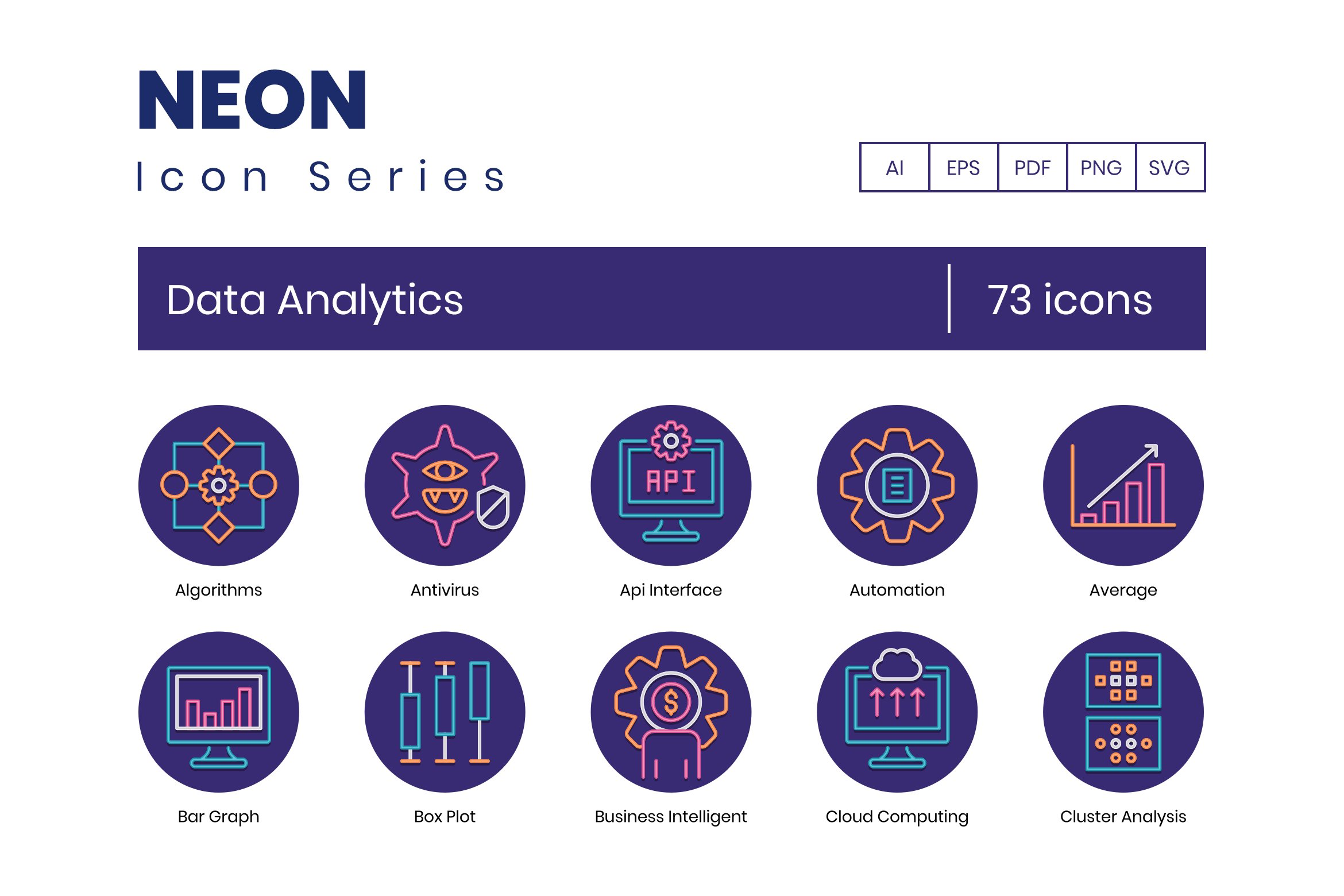 73 Data Analytic Icons Neon Series Pre Designed Photoshop Graphics Creative Market