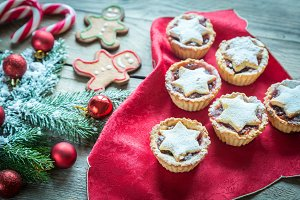 Mince pies and Christmas tree branch