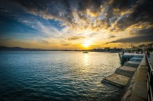 Sunset at pier - barge