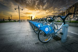 Sunset at pier - bikes