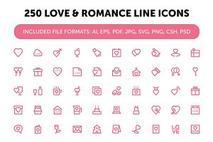 250 Love and Romance Line Icons