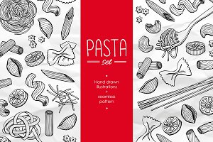 Pasta Set. Hand Drawn Illustration