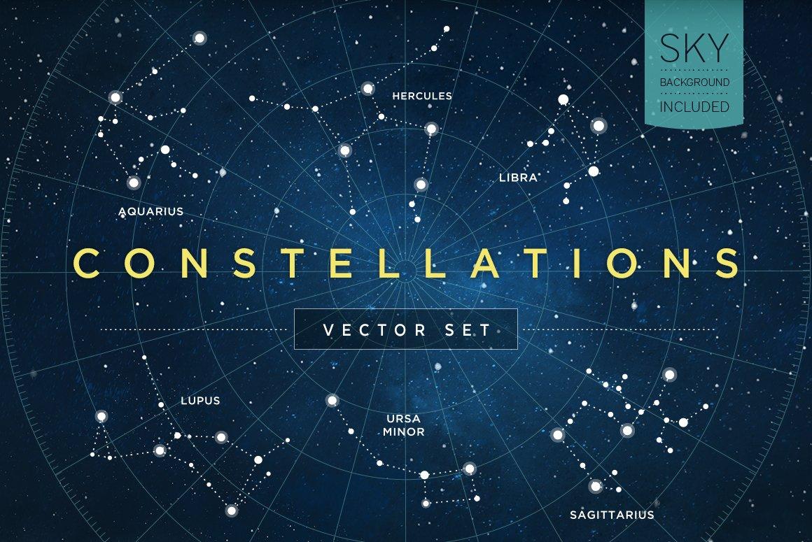 9d97589f09d8 Constellations Vector Set ~ Illustrations ~ Creative Market