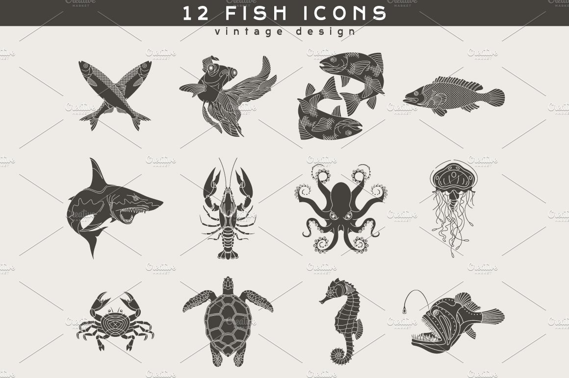 12 Fish Logos ~ Icons ~ Creative Market