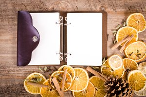 Slices of dried oranges and diary