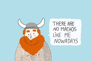 Hairy Macho Viking card