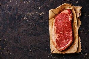 Raw fresh meat Striploin steak