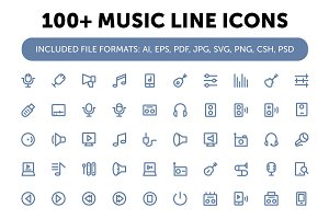 100+ Music Line Icons