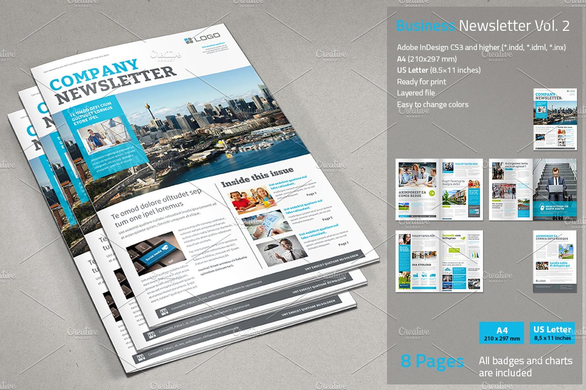 Business Newsletter Vol 2 Brochure Templates on Creative Market – Business Newsletter