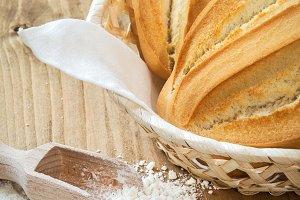 Fresh bread put in a basket