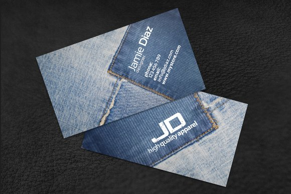 Jeans Card 2 Business Card Templates Creative Market