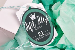 21 Gift Tags TWO! FLAT Mockups