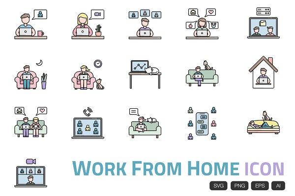 16 Work From Home Icon Vector Pre Designed Illustrator Graphics Creative Market