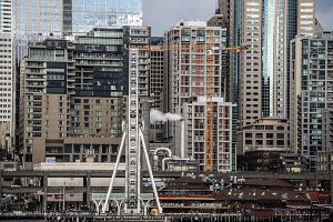 Downtown Seattle with Ferris Wheel