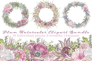 Plum Watercolor Flower Clipart Set
