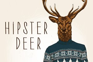 Hipster Deer Illustration