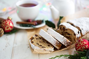 Christmas stollen with tea