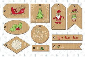 Set of 10 New Year Gift Tags