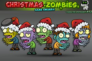 Christmas Zombies Character Sprites