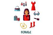 Female shopping flat icons