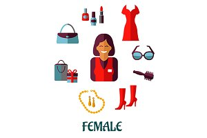 Female shopping flat icons
