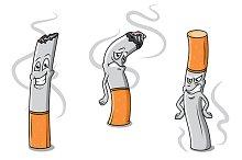 Cute cartoon cigarettes characters