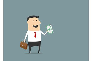 Happy businessman with briefcase and