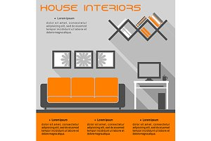 House interior infographic vector te