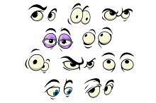 Cartoon eyes with different expressi